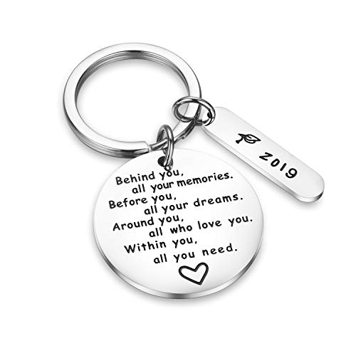 Message Keychain - CJ&M Graduation Keychain Behind You All Memories Before You All Your Dream Graduation Keychain Graduation Gifts Inspirational Jewelry Inspirational Gift for Girl,Boys.