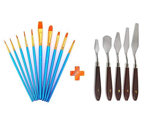 - AOOK 15 Pieces Paint Brush Set,5PCS Palette Knife 10 PCS Watercolor Professional Paint Brushes Artist for Watercolor Oil Acrylic Painting (Blue+Palette Knife)