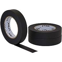 "3 pk 1"" inch x 60yd STIKK Black Painters Tape 14 Day Clean Release Trim Edge Finishing Decorative Marking Masking Tape (.94 in 24MM)"