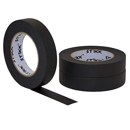 STIKK Black Painters Tape 14 Day Clean Release Trim Edge Finishing Decorative Marking Masking Tape (.94 in 24MM) ()