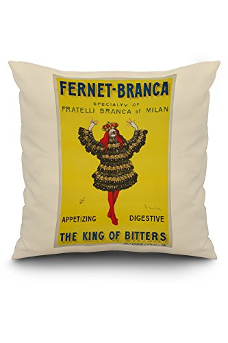 Fernet - Branca - The King of Bitters Vintage Poster (artist: Cappiello, Leonetto) France c. 1909 (20x20 Spun Polyester Pillow, White Border)