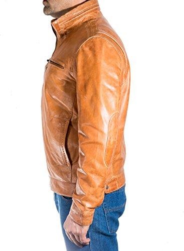 Elegante Classico Dell'annata Mens Reale Chiaro Casuale Stile Giacca Cuoio Del Motociclista Retro Morbida Marrone qx4BBw