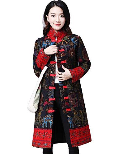IDEALSANXUN Womens Cotton Linen Vintage Floral Print Lightweight Trench Coat Long Button Down Jacket Robe