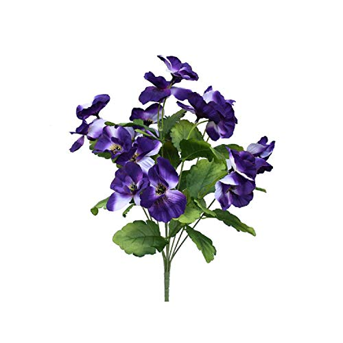 Artificial Flowers 17 Inch Artificial Pansy Flowers Silk Fake Butterfly Orchid Flower Home Office Wedding Decoration,Purple Blue