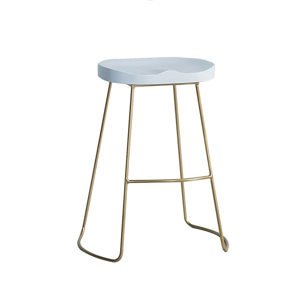 White 55CM Bar Stool, Bar Chair, Counter Chair, Restaurant High Stools, Iron Leisure Stool, Solid Wood Panel Steel Bracket 55 65 75cm Suitable for 85-110cm Bar JINRONG (color   White, Size   55CM)