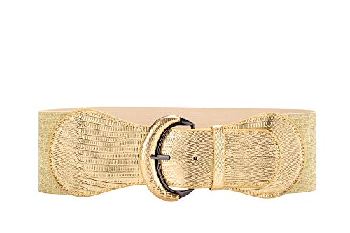 VOCHIC PU Leather Elastic Gold Wide Belt for Women Ladies Dress Stretch Thick Waist Belts ()