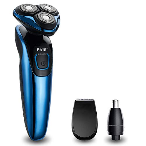 FARI Electric Razor Shaver for Men, Multi-Functional Wet & Dry Waterproof Cordless Travel Rotary Shaver, Beard Trimmer and Nose Hair Trimmer for Men with USB Charging, Blue