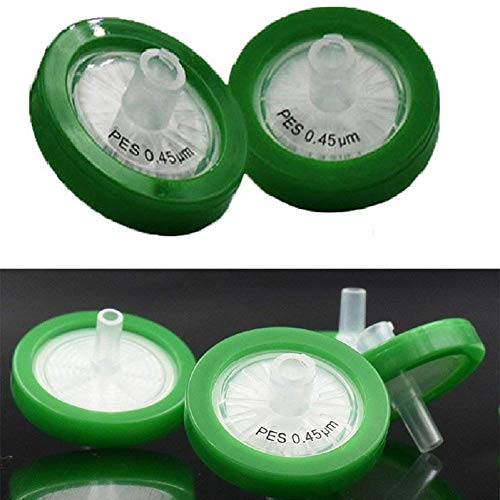 (100 X 30mm Diameter 0.45μm Pore PP Housing Size Syringe Filter Non-sterilized Hydrophilic PES for Ion Chromatography Solution Liquid Medicine Food Industry Beverage,Rapid Sterilization)