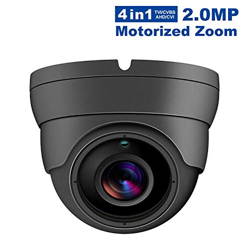 2MP Wide Angle Motorized Zoom Dome Camera 4 in 1 TVI AHD CVI CVBS 1080P 2.8-12mm Security Camera 3 pcs Array LEDs IP66 Waterproof Full HD Eyeball Cam for Home Video Surveillance 2.8-12mm, Grey
