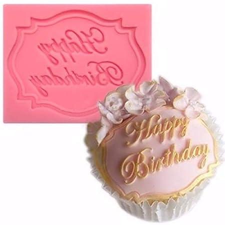 Feliz cumpleaños con texto en inglés - molde de silicona ...