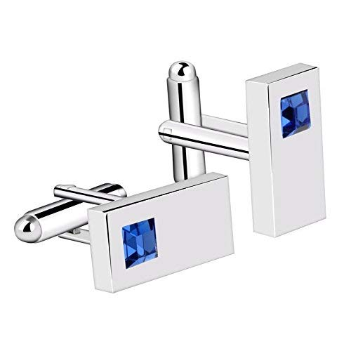 - Blue Mens Cufflinks Diamond Crystal Rectangle Silver Plated Suit Cuff Links