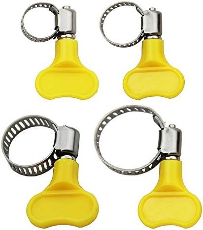10/pcs en acier inoxydable Papillon Colliers de serrage Tube de tuyau de serrage Plastique pour Excellent Fit 16mm OD ~ 25mm OD Plastic Tube jaune