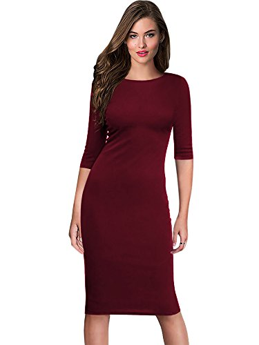 Blend Sheath Dress - oxiuly Women's Casual Simple Half Sleeve Round Neck Work Business Knee Length Pencil Bodycon Sheath Dress OX273 (XXL, Wine)