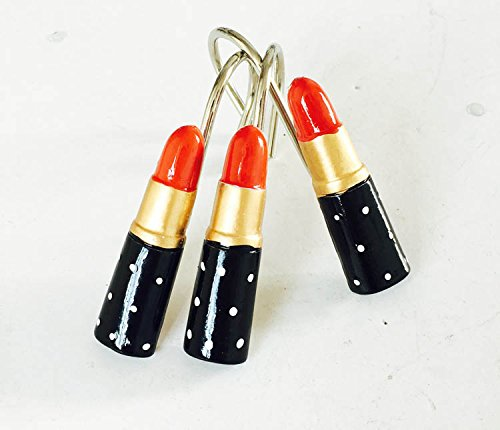 Lipstik Green (12PCS Twofishes Home Fashion Decorative Lipsticks Red Resin Shower Curtain Hooks Lip Rings for Living Room Bedroom Bathroom)