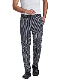 XinAndy High End Unisex Black & White Stripes Grandmaster Chef Pants