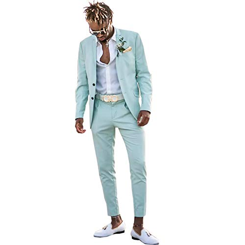 Ike Chimbandi 2 Button Mint Green 2 Pieces Slim Fit Men Suits Wedding Party Tuxedos (XL)