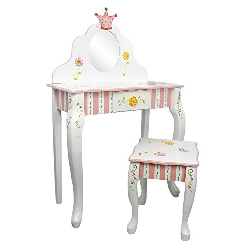 Fantasy Fields - Princess & Frog Thematic Kids Vanity Table and Stool Set with Mirror   Imagination Inspiring Hand Crafted & Hand Painted Details   Non-Toxic, Lead Free Water-based Paint by Teamson Design Corp