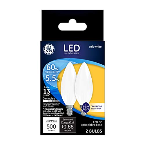 Fan Finish Pack (GE Lighting 25022 Frosted Finish Light Bulb Dimmable LED Soft White Decorative 5.5 (60-Watt Replacement), 500-Lumen Medium Base Blunt Tip, 2-Pack)