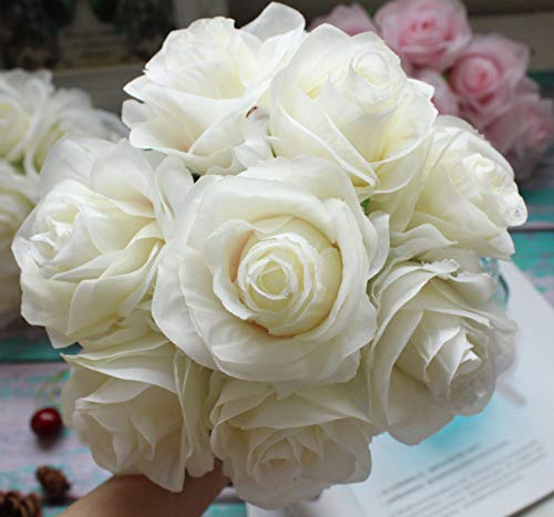 Kislohum Artificial Flowers White Roses 10pcs Real Looking Fake Silk Roses for Wedding Bouquets Floral Leaf Centerpieces Party Home Decor Baby Shower,Pink in Center (White with Pink)