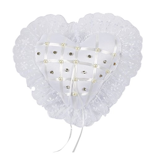 Juvale Ring Bearer Pillow – Wedding Ring Cushion, Engagement Ring Pillow – Heart-Shaped Pillow in Satin with Rhinestones, Faux Pearls, and Floral Lace Trim - 7.75 x 7.75 x 3.5 (Rhinestone Heart Wedding Garters)