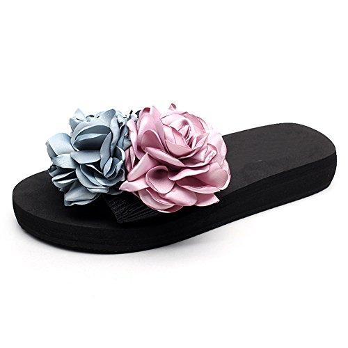 Fereshte Femmes Sexy Slip-on Pantoufle Bohème Fleur Sandales De Plage Pour La Mère Et La Fille 1452-rouge Bleu