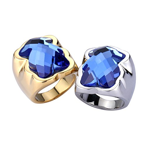 URs 18K Gold Plated and Silver Stainless Steel Women's Ring with Blue Teddy Bear Rhinestone 2 PCS (9)