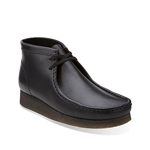 Clarks Wallabee Mens Leather Boots Black Leather/Cuir Noir 26103666