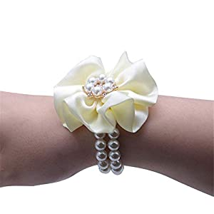 Flonding Wedding Bridal Wrist Corsage Bride Wrist Flower Corsages Pearl Stretch Bracelet Wristband for Girl Bridesmaid Prom Homecoming Hand Flowers Decor (Creamy, Pack of 1) 83