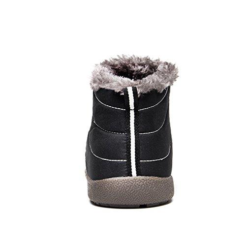 JIASUQI Frauen Klassische Winter Schneeschuhe Wasserdichte Outdoor Ankle Booties Schwarzes High Top