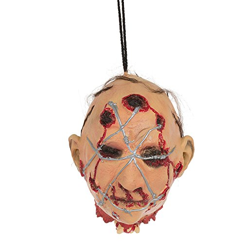 Bristol Novelty HI322 Head with Barbed Wire Hanging Prop, Multi-Colour, One Size
