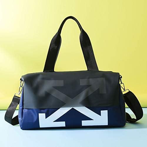 多機能防水ワンショルダーヨガジムバッグ軽量スポーツポータブルゴルフバッグに乾燥し短い旅行に適したウェット分離 HMMSP (Color : Blue, Size : 48×23×23cm)