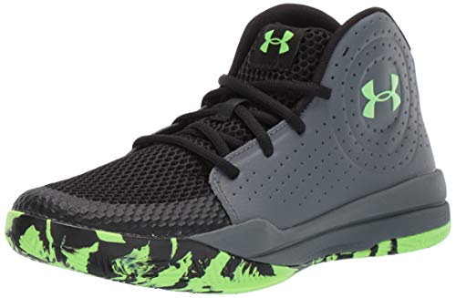 Under Armour Kids' Pre School Jet 2019 Basketball Shoe, Pitch Gray//Black, 7 (Shoe For Basketball)