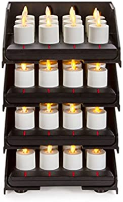 48pc Luminara Rechargeable Flameless Tea Lights W Charging Base 48 Rechargeable Tea Light Votive Candles Intelligent Charging Base Tower Sliding Trays Weddings Bridal Restaurants Receptions Amazon Sg Home