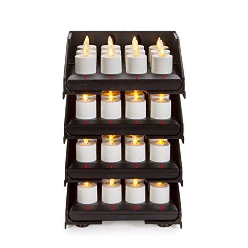 48pc Luminara Rechargeable Flameless Tea Lights w/ Charging Base: 48 Rechargeable Tea Light Votive Candles, Intelligent Charging Base Tower, Sliding Trays, Weddings, Bridal, Restaurants, Receptions by Luminara
