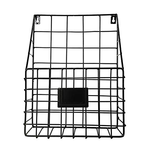 (Wall Hanging File Holder Magazine Newspaper Storage Shelf Rustic Industrial Design Minimalism Metal Mesh Wire Shelf for Home/Office/Wall)