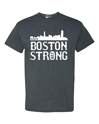 Boston Strong 617 Skyline State Adult T-Shirt Tee (XXXXX Large, Dark Heather)