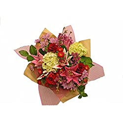 My Perfect Love Bouquet for Valentines Day - White hydrangea, Matsumotos and Red Roses Mix with Light Pink Oriental Lilie