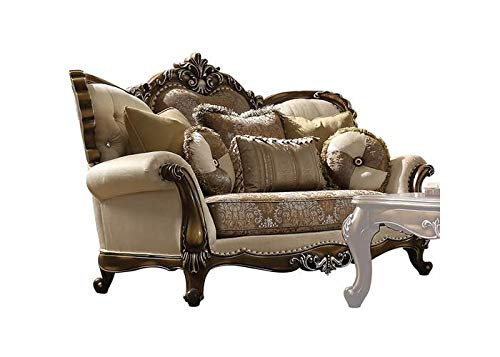 Acme Furniture Industry, INC Loveseat with Five Pillows in Tan, Pattern and Antique Oak