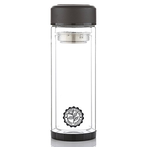 Botella Aislante de Viaje con Infusor de Té en Acero Inoxidable Vaso Térmico de Vidrio con Infusor de Té Cilindro de...
