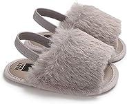 Argorgeous Baby Boy Girl Sandals Loafer Fluff Fur Slide FlatAnti-Slip Cute Slippers Soft Sole Crib