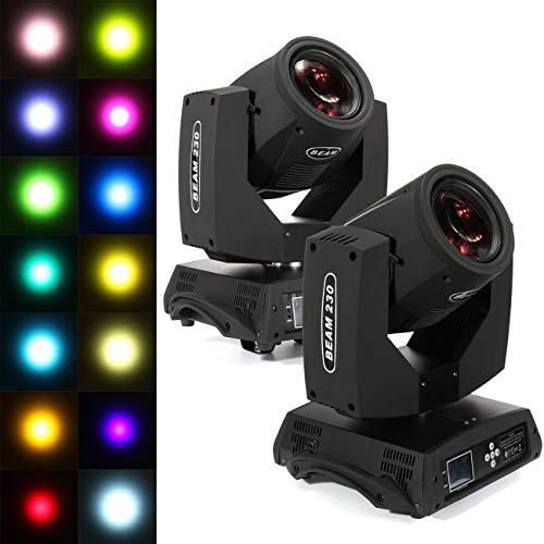 Ridgeyard 7R 230w Moving Head Zoom Light DMX 16CH Beam 8 Prism Wash Spot Gobo Light DJ Disco Club Party Wedding Stage Effect Lighting (2 ()
