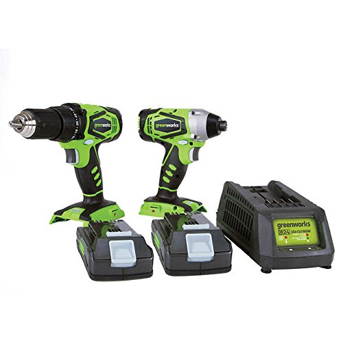 Greenworks CK24B220 24V Lithium MAX Drill Driver / Impact Driver Combo Kit (Greenworks 24v Drill Driver And Impact Driver Combo)