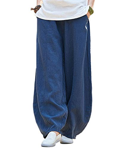 IXIMO Women's Cotton Linen Wide Leg Pants with Elastic Waist Baggy Long Bloomers Trousers with Pockets (Style2_Navy Blue, M) ()