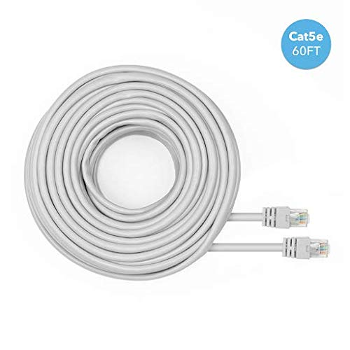 (Amcrest Cat5e Cable 60ft Ethernet Cable Internet High Speed Network Cable for POE Security Cameras, Smart TV, PS4, Xbox One, Router, Laptop, Computer, Home (CAT5ECABLE60))
