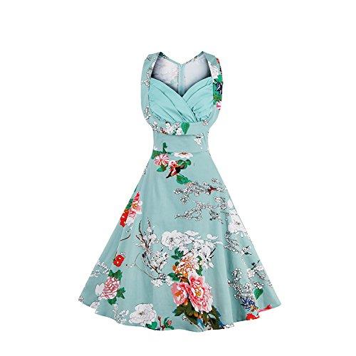 ORICSSON Womens Deep V-Neck Elegant Floral Printed Cocktail Easter Party Sleeveless Light Blue Dress -