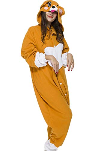 Unisex Adult Khaki Dog Pyjamas Halloween Costume One Piece Animal Cosplay Onesie]()