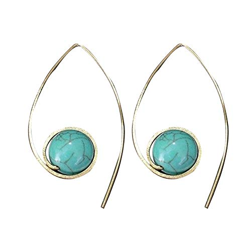 Finance Plan Fashion Women U Shape Faux Turquoise Drop Earrings Wedding Engagement Jewelry