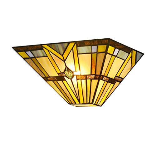 Docheer Tiffany Style Mission 1-Light Wall Sconce 12.3-Inch Stained Glass Shade Wall Lamp, Multicolored