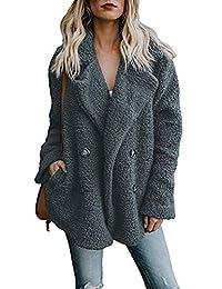 Assivia Womens Coat Lapel Faux Shearling Zipper Warm Winter Oversized Outwear Jackets