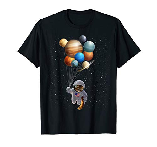 Astronaut Cat in Space Holding Planet Balloon,